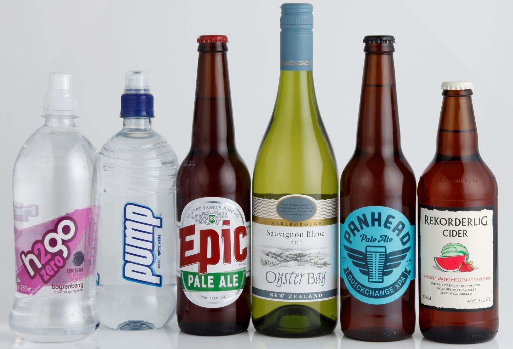 Drinks inc beer wine water